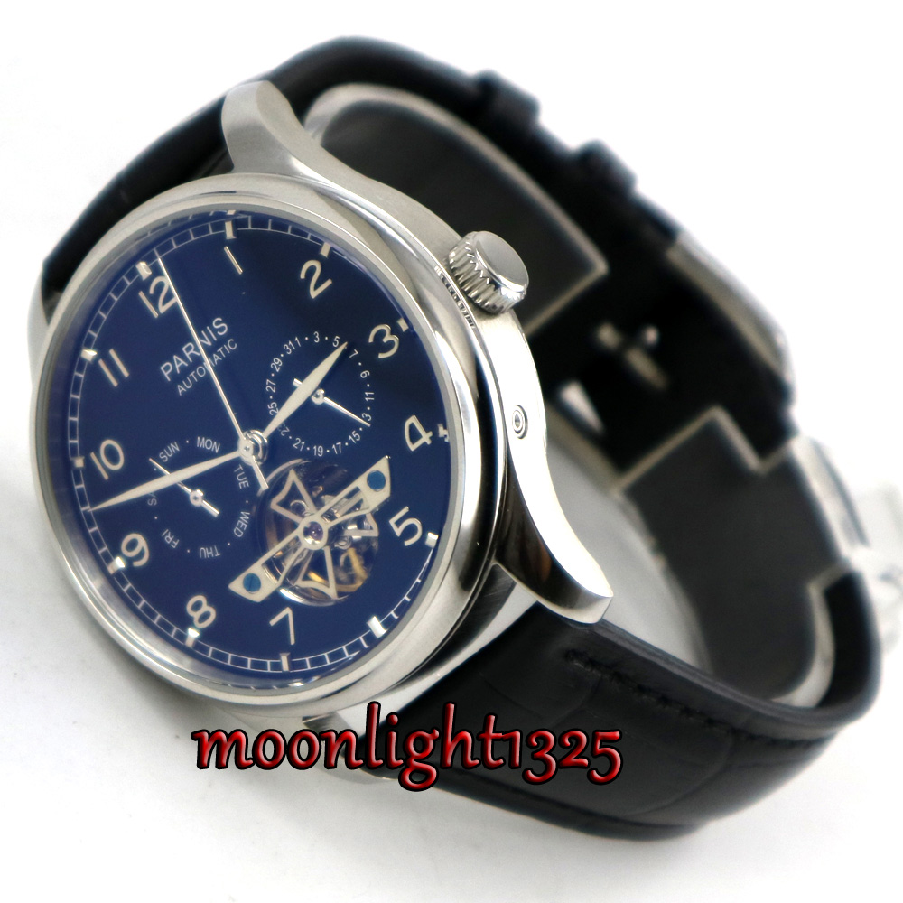 лучшая цена 43mm parnis black dial Black strap date day ST 2552 automatic movement mens watch