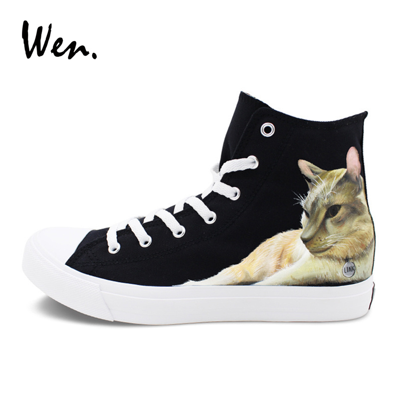 Wen Sneakers Hand Painted Pet CAT Custom Design Black Canvas Shoes Man High Tops Skateboarding Shoes Woman Lace up Plimsolls wen high top white woman casual canvas shoes hand painted custom shoes clock time designs man sneakers tie up rubber soled