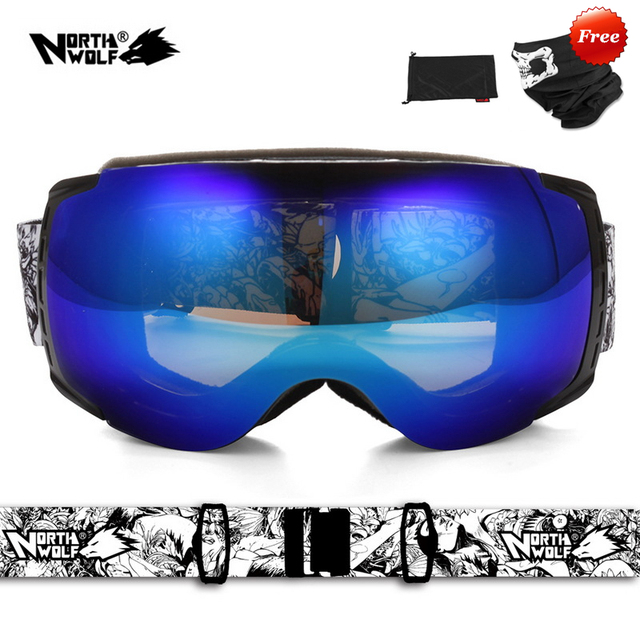 b8a5bab2b2db North Wolf 858 brand Professional Best Ski Goggles Men and Women Double  lens antifog UV 400 Oversize Spherical Snowboard Goggles