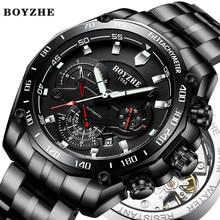 BOYZHE 2019 Manner Automatische Mechanische Uhr Luminous Luxury Brand Schwarz Militar Sport Edelstahl Uhren Relogio Masculino