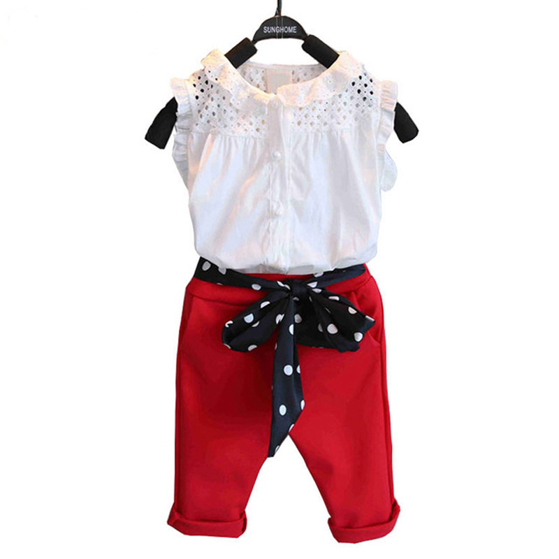 New Brand Fashion Summer Girls Clothing Sets Baby Kids Clothes Petals Sleeveless T-Shirt +Red Pants 2Pcs Suits Girls Clothes baby boy clothes 2017 brand summer kids clothes sets t shirt pants suit clothing set star printed clothes newborn sport suits