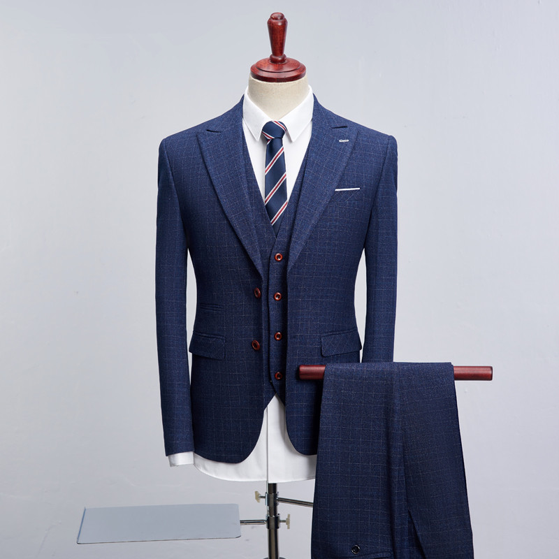 Новый дизайнерский бренд 2019 Классический Клетчатый мужской костюм Slim Fit Pinstripe костюм умный повседневный мужской 3 шт. мужской деловой костюм