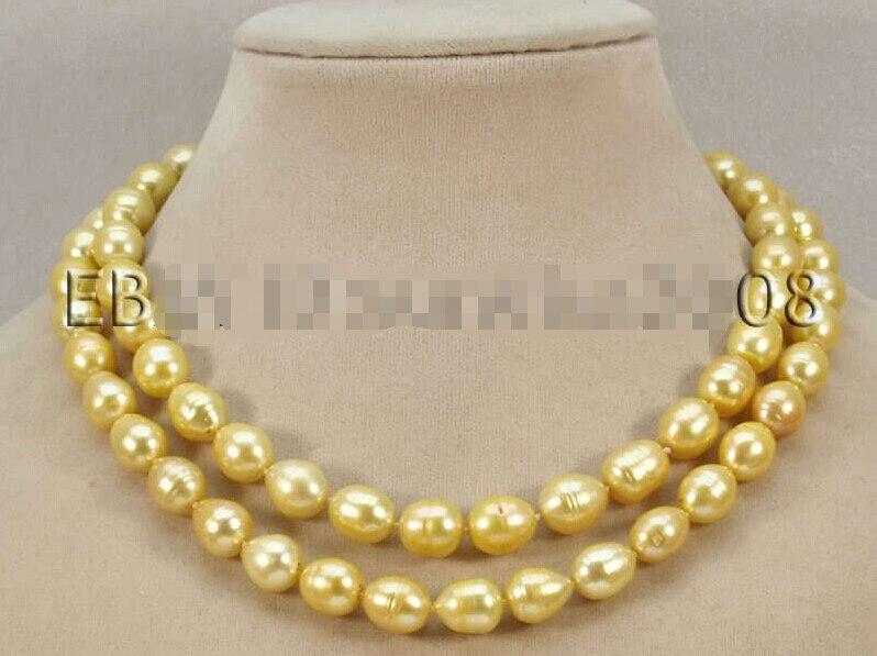 ST461 R44 livraison gratuite>>>>>> 2015 mode 2 rangées belle 11-12mm jaune eau douce véritable collier de perles 18