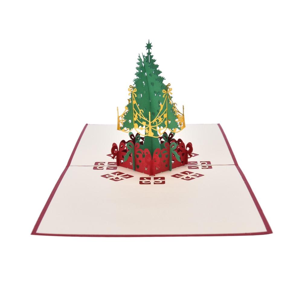 1PCS Merry Christmas Tree Vintage 3D Laser Cut Pop Up