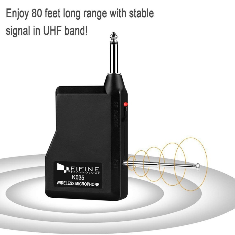 Fifine UHF Channels Wireless Microphone System with Portable Receiver 1/4'' Output MIC for Family Part KTV Bar Music Club K035B 3