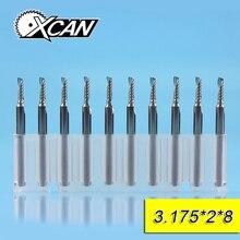 XCAN 10 шт 2×8 мм 3,175 хвостовика Один Флейта спиральная фреза для контурной обработки для резка дерева/Пластик фрезы ЧПУ 1 торцевые фрезы