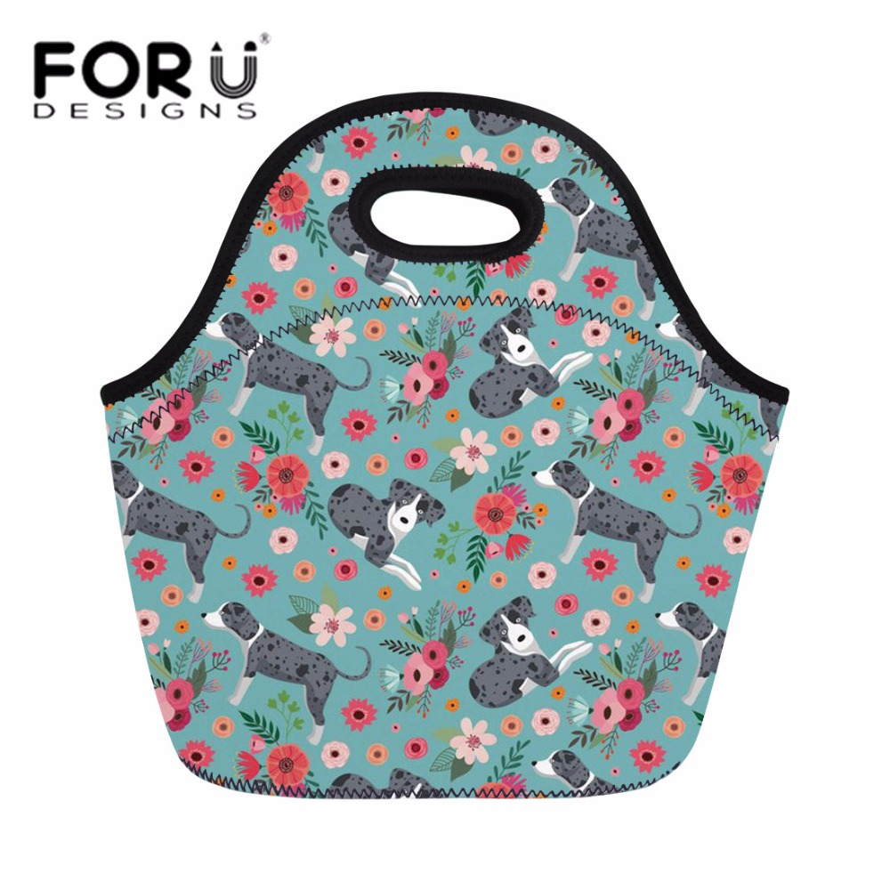 FORUDESIGNS Womens Thermal Cooler Lunch Bag Catahoula Picnic Travel Lunch Box Ladies Casual Hand Totes Pouch for Girls Kids