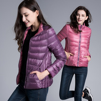 Reversible European And American Fashion Ultra Thin Light Weight Short Design Slim Down Jacket Women Stand