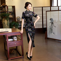 Fashion Chinese Style Long Cheongsam New Arrival Black Womens Velour Dress Elegant Qipao Vestidos Size S