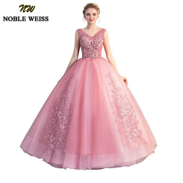 NOBLE WEISS 2019 Vestido Debutante Quinceanera Dresses Sexy V-neck Ball Gown Lace-up Sweet 16 Dress Vestidos De 15 Anos Custom
