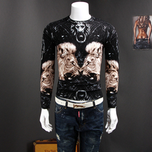 Men's sweater lion design personalized printing autumn Mens sweater western design PU887