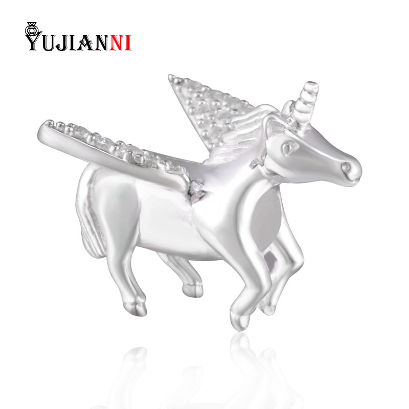 Original Shiny Unicorn Charm 100% Authentic 925 Sterling Silver Beads fit for Woman DIY Bracelets Necklaces Jewelry