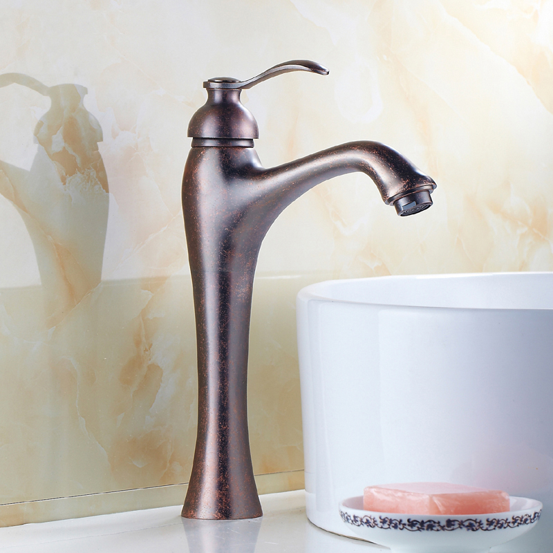 Brass wash basin faucet mixer water tap, Single handle oil rubbed bronze faucet, Antique copper sink basin faucet cold and hot single handle bathroom faucet basin carving tap swivel sink water tap antique brass hot and cold kitchen mixer faucet with hose