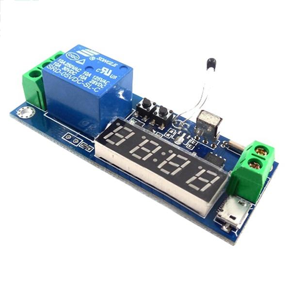HW-24 digital clock temperature timer relay module / cycle delay / timing / self-locking controller free shipping 12v timing delay relay module cycle timer digital led dual display