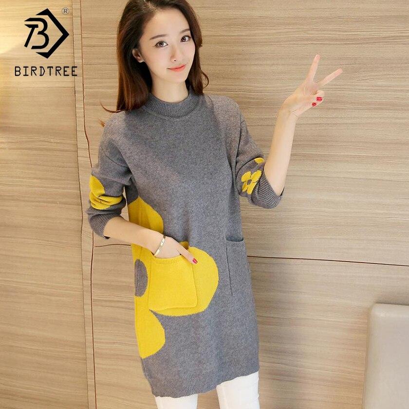 2018 корейский стиль модные женские длинный рукав Для женщин Вязание свитер пуловер с круглым вырезом свободные длинные свитера Лидер продаж...