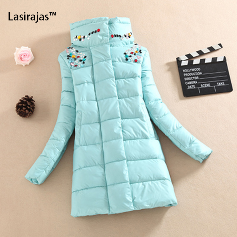 ФОТО 2016 Winter Jacket Women Fashion Slim Medium-long Coat Parka Women Down Cotton-padded Jackets and Coat Female Diamond Outerwear