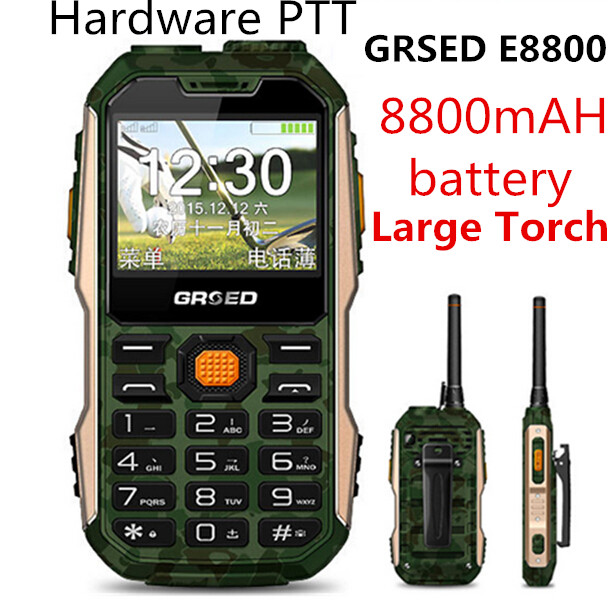 Цена за Разблокирована Rungee E8800 Русский Португальский, Арабский Испанский 8800 мАч Dual SIM Walkie Talkie Факел power bank противоударный мобильный телефон