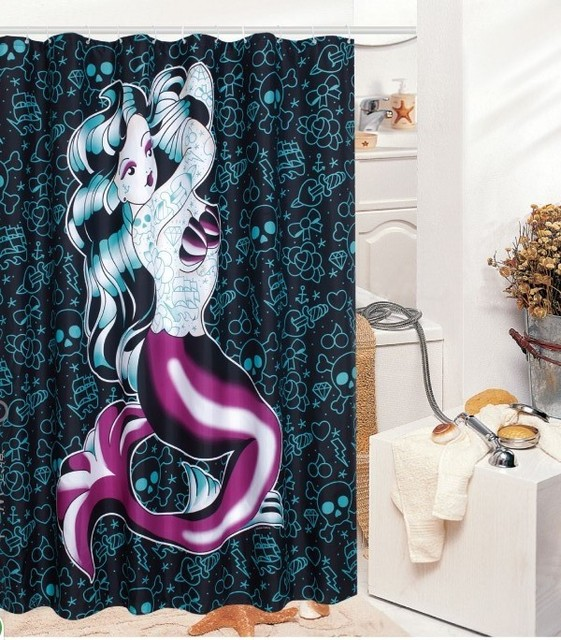 New Mermaid Sea Fish Punk Pinup Bathroom Waterproof Fabric Shower Curtain Free 12 Hook Home Decor Great Gift