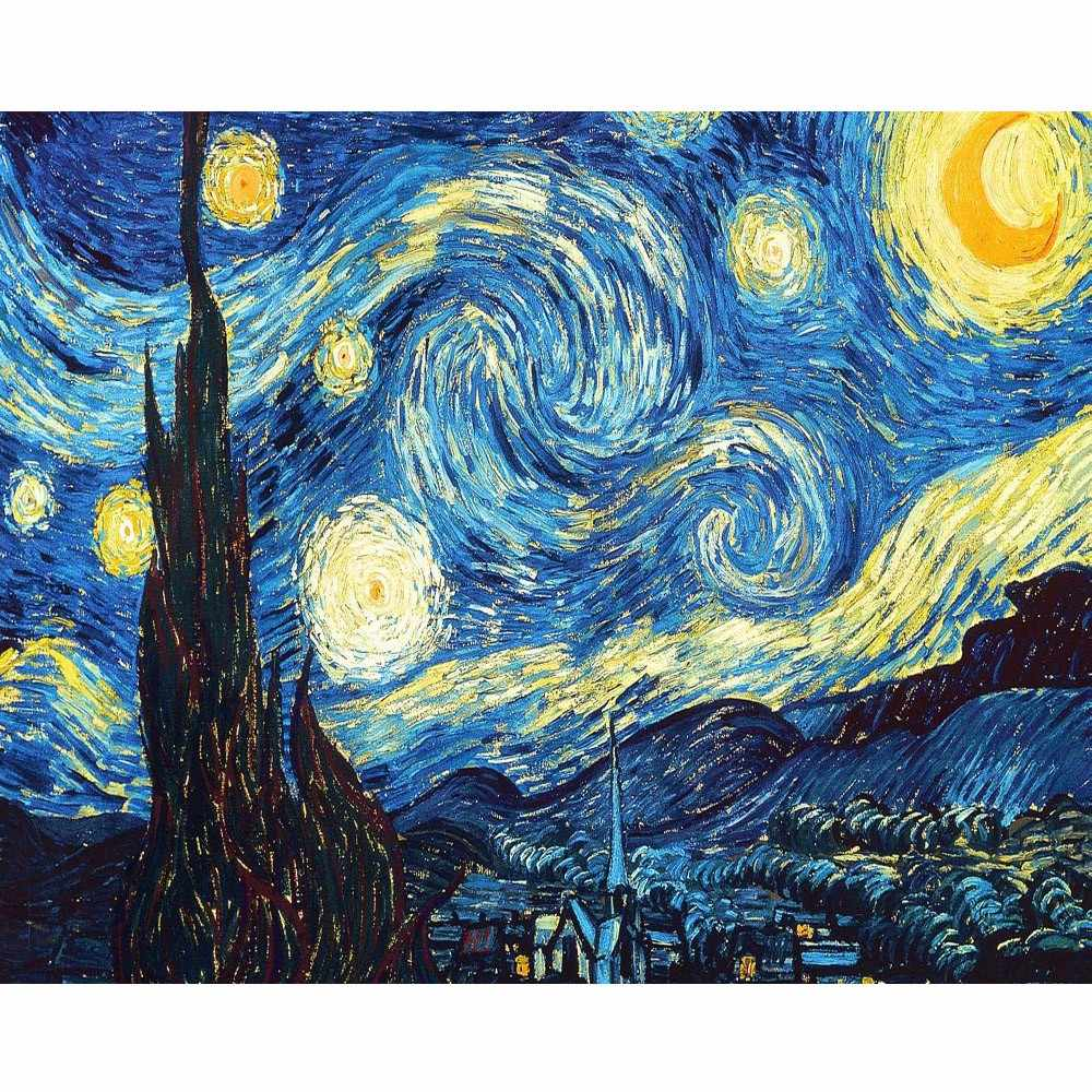 Diy digital painting Van Gogh stars starry night paintings living room magnificent scenery bedroom restaurant decoration 40X50cm
