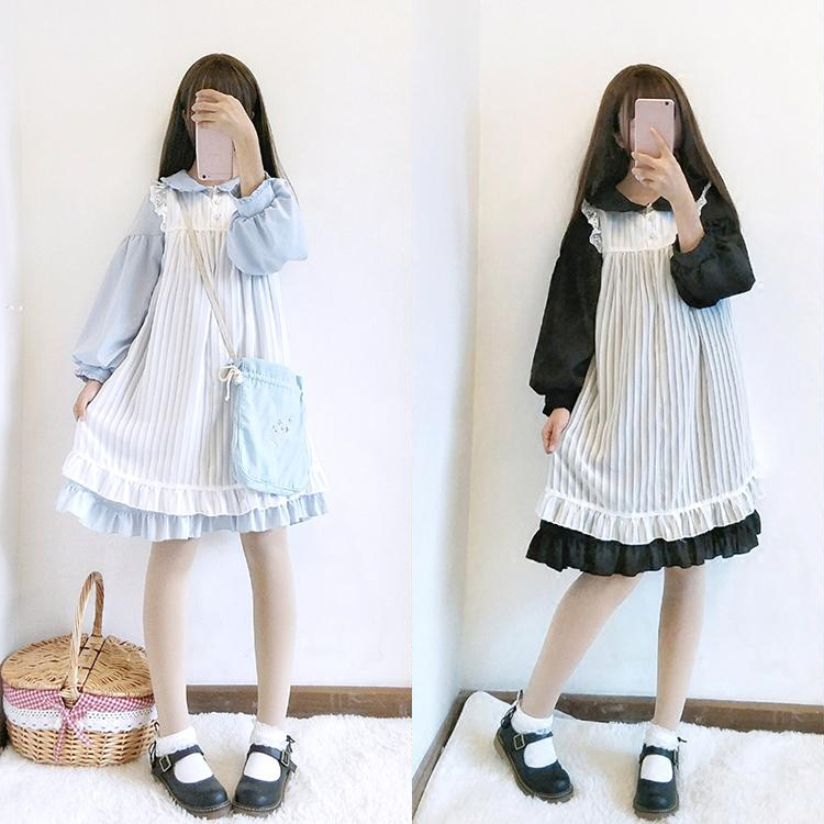 <font><b>Lolita</b></font> Dress Sweet Cute Kawaii Girls OP Princess Maid Vintage Ruffles Skirt Puff Sleeve Red Black Pink Women Skirt Round Collar image