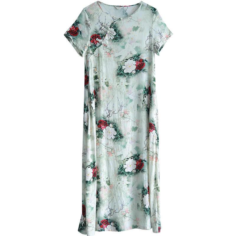 LZJN Оригинал 2019 летнее макси платье женское с коротким рукавом винтажное хлопковое белье Showy пион восточный халат платье с боковыми карманами