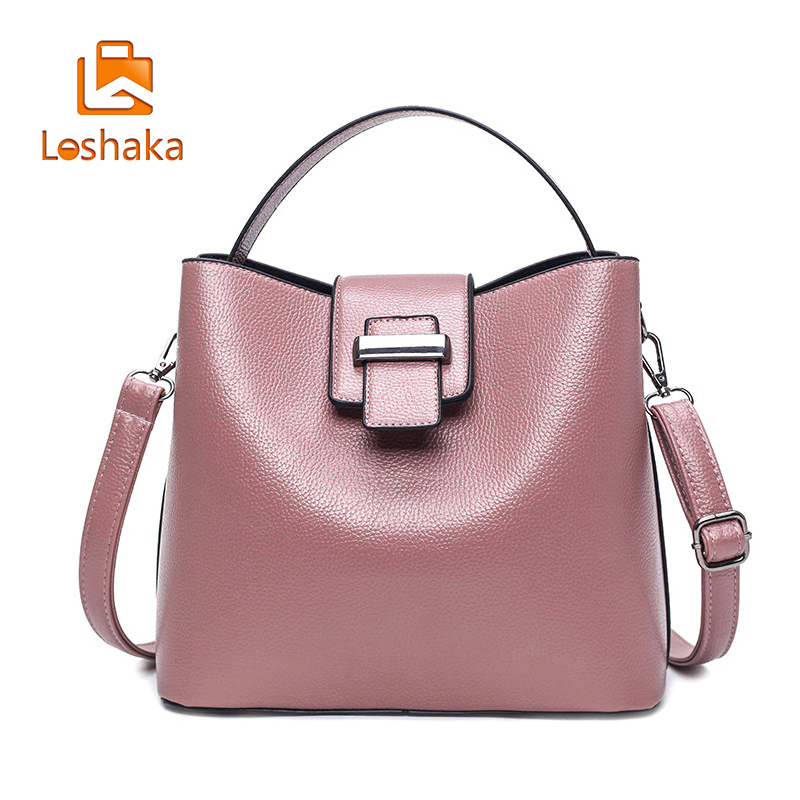 Loshaka moda femei Bucket Handbag PU din piele solidă compozit - Genți