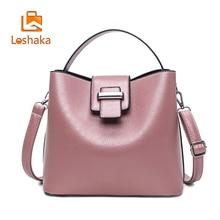 Loshaka Fashion Women Bucket Handbag Solid PU Leather Composite Bags Casual Shoulder Bag High Quality Female Messenger Bag