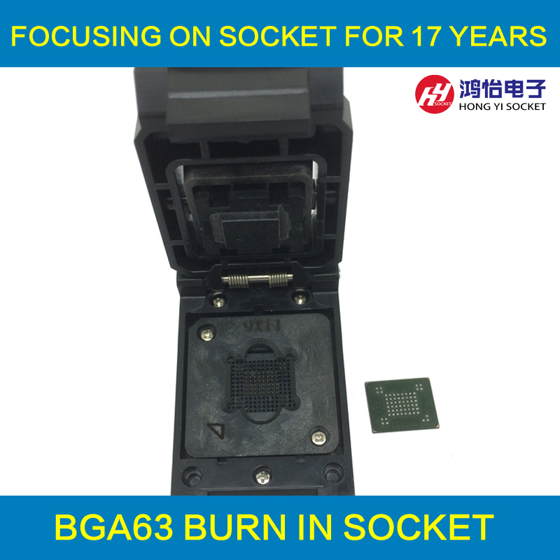 VFBGA63 BGA63 Burn in Socket Test Socket Pin Pitch 0.8mm IC Body Size 9x11mm Programmer Adapter Burning Socket qfp176 tqfp176 lqfp176 burn in socket pitch 0 5mm ic body size 24x24mm otq 176 0 5 06 test socket adapter