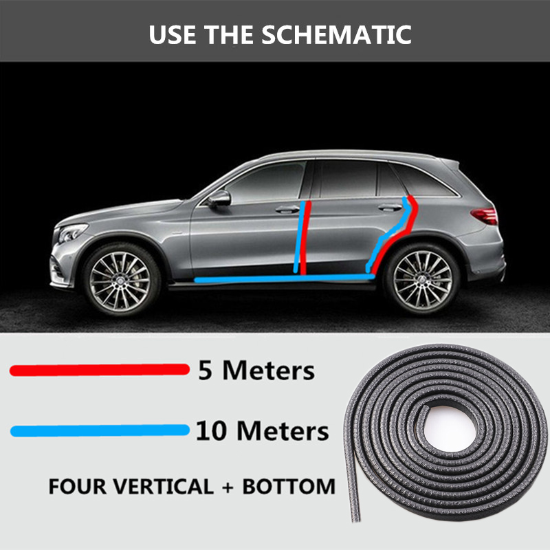Universal 10M Car Door Edge Scratch Protector Strip Sealing Guard Trim Automobile Door Stickers Decoration Protector Car-styling_install