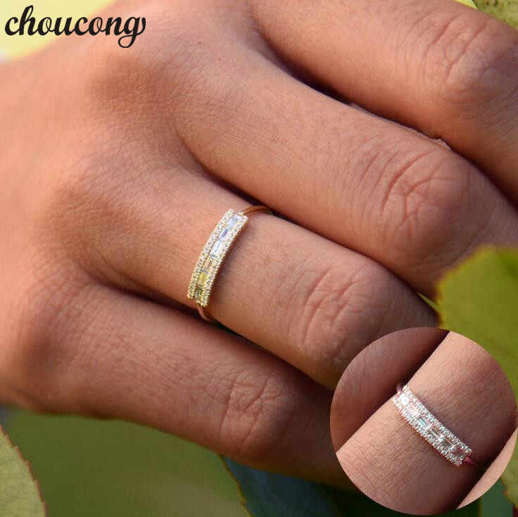 Choucong แฟชั่นนิ้วแหวนสีเหลือง Rose Gold Filled AAAAA Zircon CZ วงแหวนสำหรับเครื่องประดับสตรี