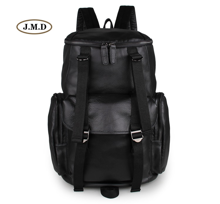 J.M.D Genuine Leather Simple Style Fashion Black Backpack Causal Journey Rucksack Two Ways Zipper Top Closure Laptop Bag 7318A black causal two side pockets hoodie