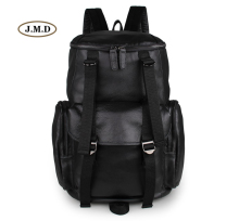 J.M.D Genuine Leather Simple Style Fashion Black Backpack Causal Journey Rucksack Two Ways Zipper Top Closure Laptop Bag 7318A