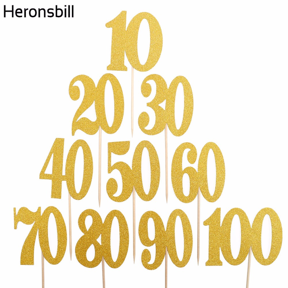 Heronsbill 6pcs 10 20 30 40 50 60 70 80 90 100 Years Birthday Cupcake Cake Toppers Adult Party Decorations Supplies 30th 60th image