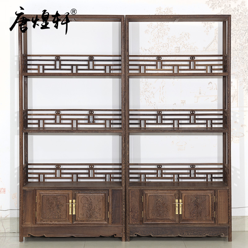Tang Huangxuan Mahogany Wood Antique Furniture Chinese Display Wooden Bookcase Three Bookcases Bookcase
