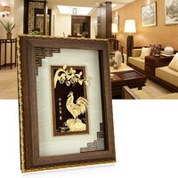 3D Chinese painting Gold Chicken pictures 24K Gold foil painting Poster wall art pictures Desktop Ornaments Crafts home decor
