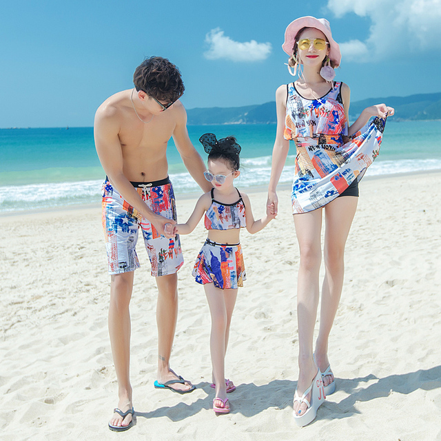 3df616e83f Family Swimwear Printed Women One Piece Swimsuit Dress Men's Beach Shorts  Kids Two Pieces Suits Couples Beach Wear Bathing Suits