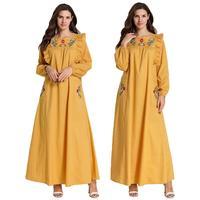 Abaya Embroidery Ruffle Long Dress Muslim Women Maxi Party Jilbab Islamic Kaftan Clothing O neck Long Sleeve Loose Casual Dress