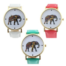Louise Mulheres Elephant Pattern Faux Pulseira De Couro Quartzo Analógico Mostrador do Relógio vestido relógios horloges vrouwen Dropshipping & Distribuição