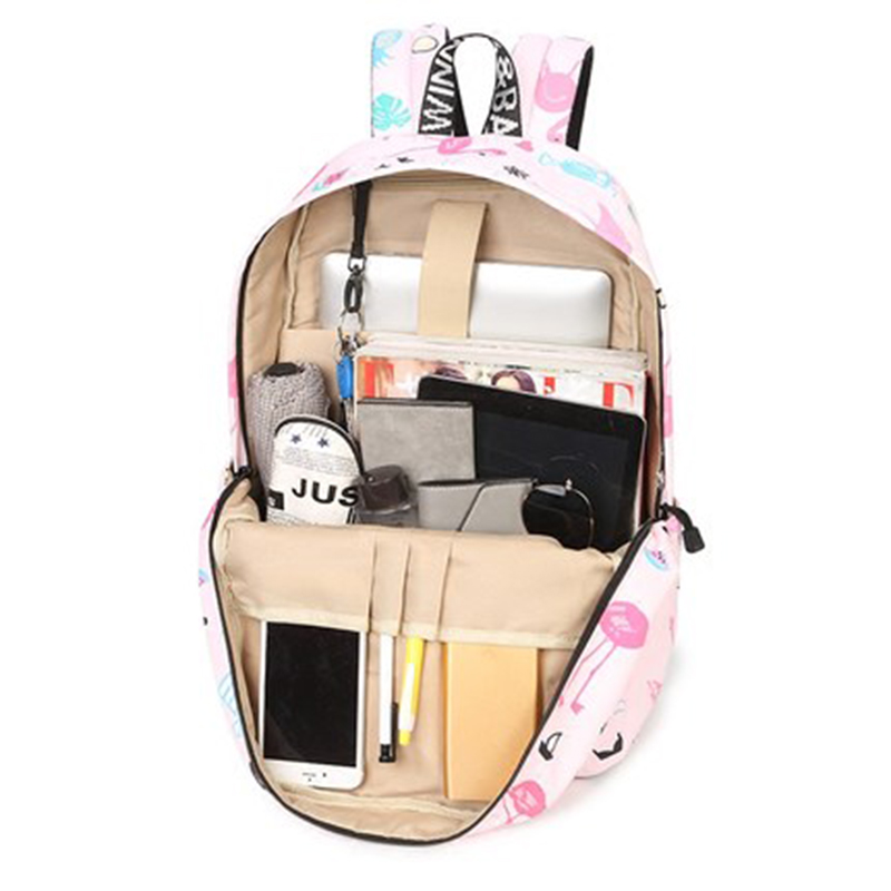 Waterproof Women Backpack Cute Bookbag Pink Flamingo Animal Knapsack Printing School Bagpack Bag For Teenage Girls Mochila #4