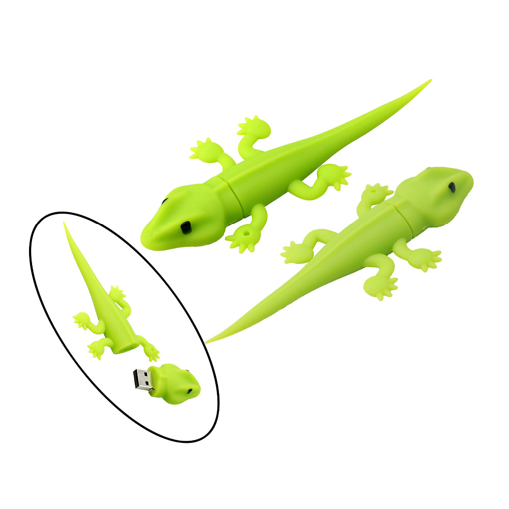 Green Lizard/Chameleon cartoon USB flash pen drive 4g 8gb 16gb 32g 64g Memory Stick Thumb/Pendrive key U Disk creative Gift