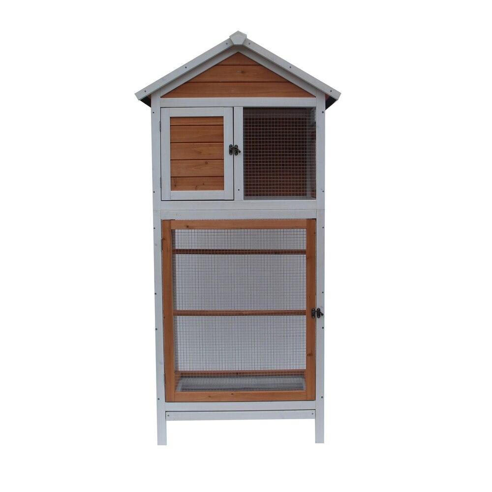 Grande Cage à oiseaux en bois Cage à oiseaux perruche Cockatiel canari Finch Conure maison de jeu fourniture d'oiseaux blanc et brun foncé-Stock US
