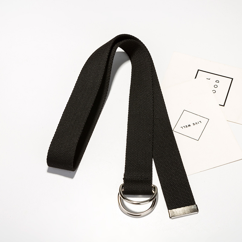 Harajuku zipper all-match ultra long canvas   belt   110cm long D ring buckle   belt   lovers brief solid color long   belt