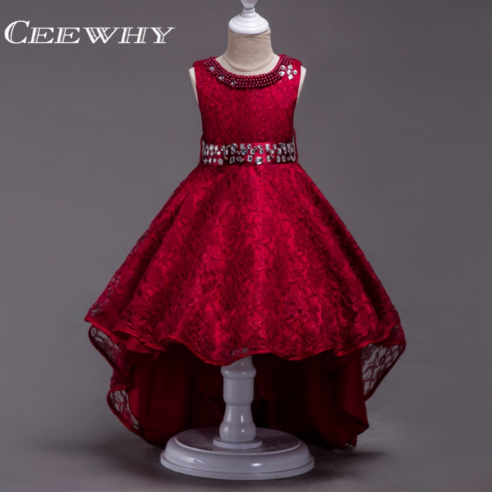 CEEWHY Cute   Girls   Formal   Dress   with Crystal Court Train Lace   Girls     Dress   Vestido Daminha   Flower     Girl     Dresses   for Communion