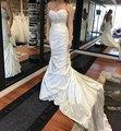 Vestido de Noiva de luxo cetim macio Sexy lace up corset hetero bainha Vestidos de Casamento 2017 beads sash Ruffles Robe de Mariage