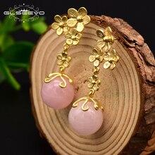 GLSEEVO Natural Pink Crystal Long Drop Earrings 925 Sterling Silver Dangle Piercing Earring For Women Boucles D'oreilles GE0087A