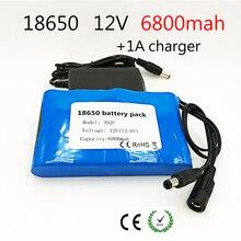 18650 литий-ионный аккумулятор портативный заряжаемый Аккумулятор DC 12 V 12,6 V 6800 mAh аккумулятор/12,6 V аккумулятор + 12.6V1A зарядное устройство