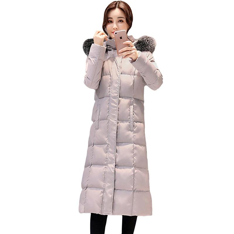 Long gris Parkas Duvet Le Col Mode Noir À Vers Épaissir Femmes Mince Blanc Manteaux Outwear Fourrure Femelle Bas De Canard Capuchon Yp1607 D'hiver Vestes qzgExaZw