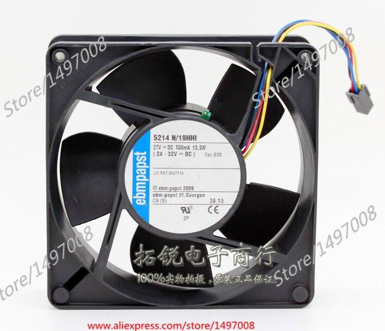 ebmpapst 5214N/19HHI DC 27V 13.5W 4 , 127x127x38mm Server Square fan ebmpapst a6e450 ap02 01 ac 230v 0 79a 0 96a 160w 220w 450x450mm server round fan outer rotor fan