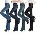 Женщины Осень Slim Fit Средний Талия Flare Джинсы Плюс Размер Стрейч узкие Джинсы Расклешенных Джинсовые Брюки Xs Xxxl 4Xl 5Xl 6Xl