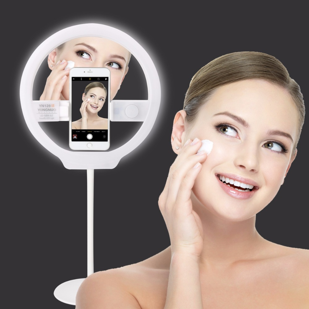 YONGNUO YN128 II Photography LED Ring Light with Makeup Mirror Bicolor Beautify LED Selfie Lamp for iPhone Mobile Youtube makeup original xiaomi led phone light for photograph external selfie